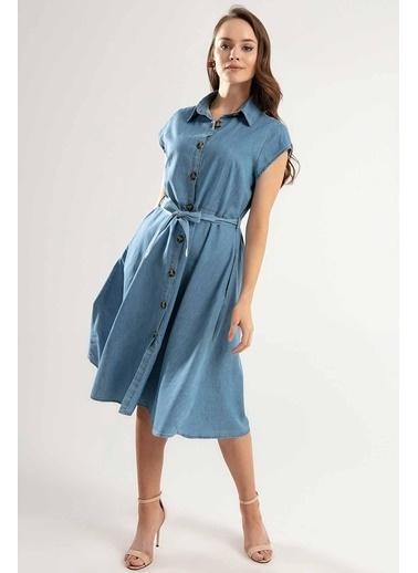 Pattaya Pattaya Kadın Kuşaklı Kısa Kollu Kloş Gömlek Elbise Y20S110-1677 Mavi